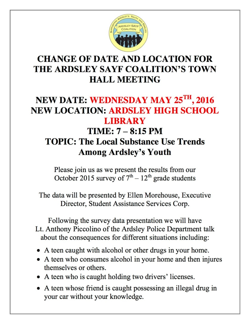 Change of Date May 24th Town Hall Meeting